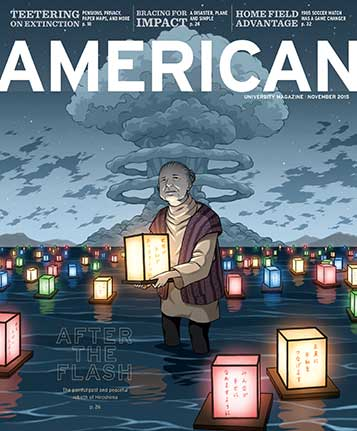 November 2015 cover of American magazine featuring a Japanese woman holding a colorful lantern