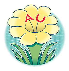 illustrated flower with AU in the center