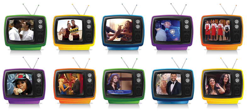 rows of colorful TV sets