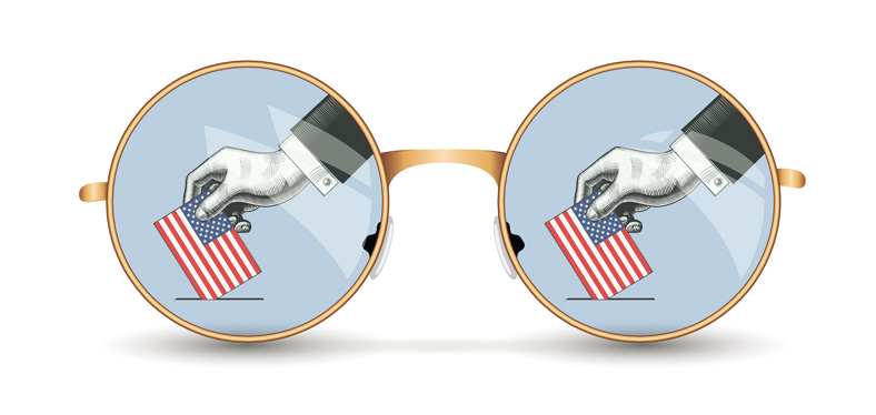 An illustrated pair of glasses shows a ballot being cast