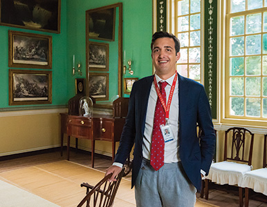 Ethan Guralnick in the mansion at Mount Vernon