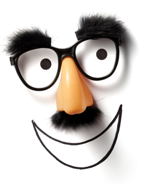 A comedic mask containing a fake nose, mustache, glasses, and eyebrows