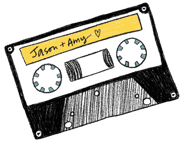 mix tape that says Amy plus Jason
