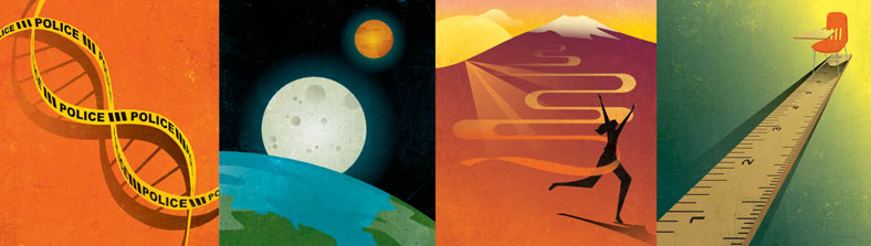Illustrated images of a DNA sequence, the earth and the moon, a runner running down a mountain, and a desk at the end of a ruler