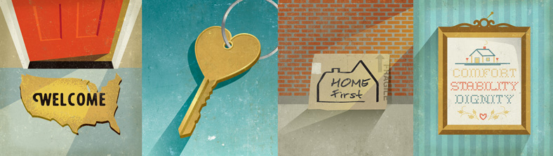 illustrations of a welcome mat, a key, a cardboard box and a cross-stich sampler
