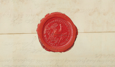 Parchment letter sealed with wax