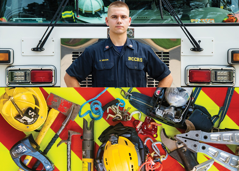 firefighter Alex Braun and his tools