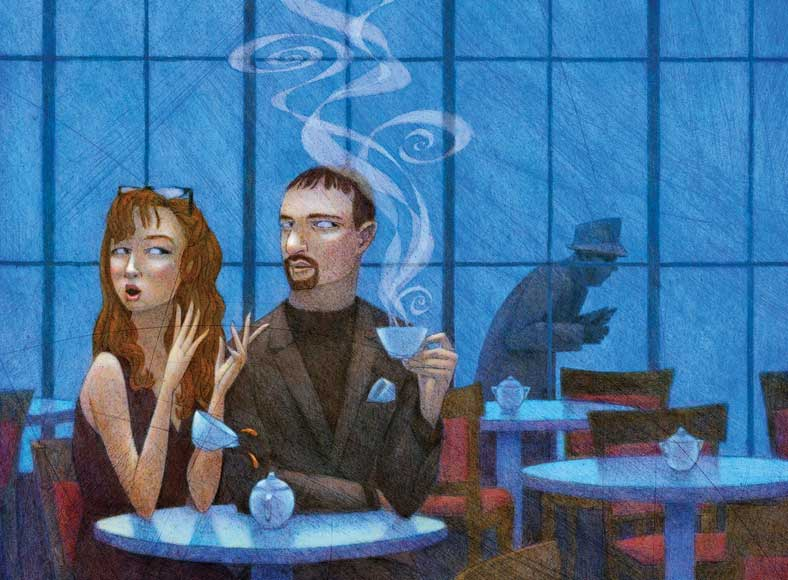 Illustration of a couple at a coffeehouse