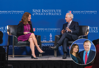 President Sylvia Burwell chats with Sen. Bob Corker at the Newseum