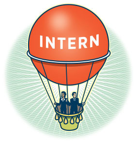 "illustration of a hot air balloon that says ""intern"""