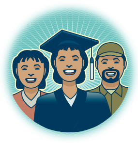 illustration of AU graduate with her parents