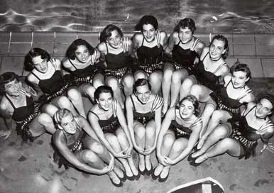 Black and white photo of old AU cheerleaders