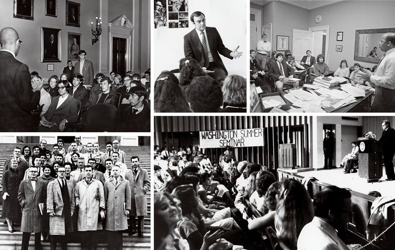 collage of images of Washington Semester students with senators and journalists