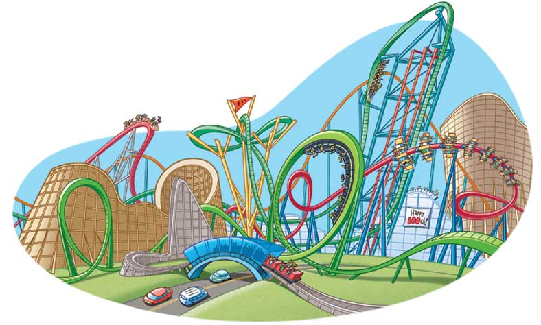 illustration of roller coasters