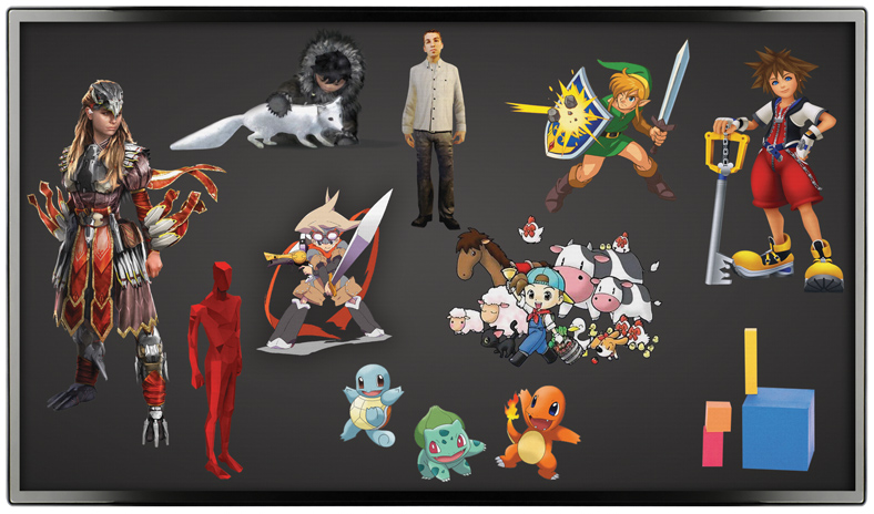assortment of video game characters