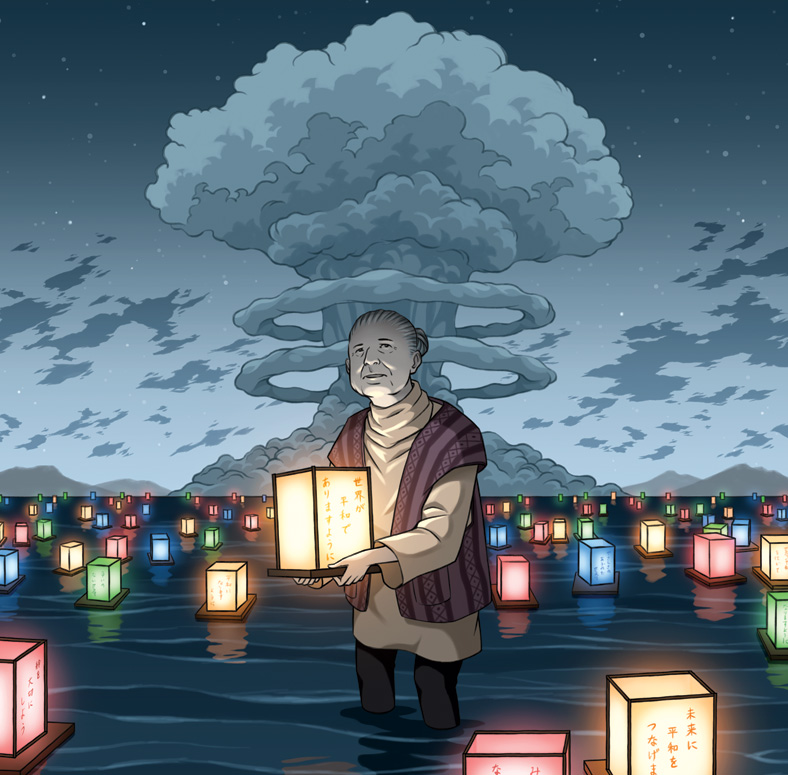 Illustration of an elderly person holding a lantern in a river, with a mushroom cloud behind them