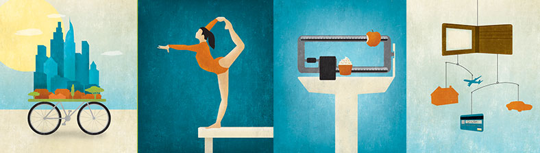illustrations of a skyline, gymnast, wallet and a scale