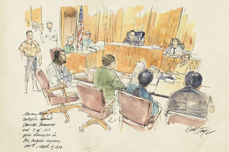 courtroom drawing of Steven Weiss testifying against Charles Manson in 1970