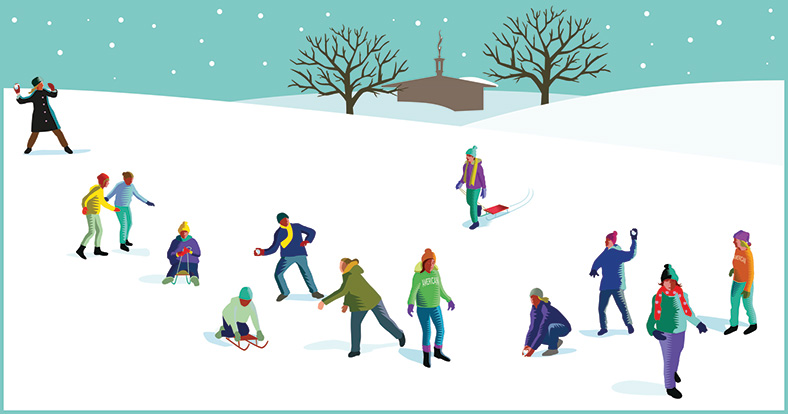 illustration of people playing in the snow on campus