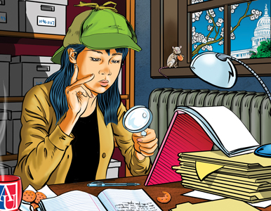 Woman uses magnifying glass to examine documents