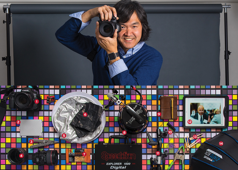 Dan Chung and his photography equipment