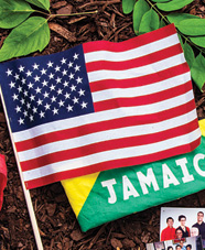American and Jamaican flags