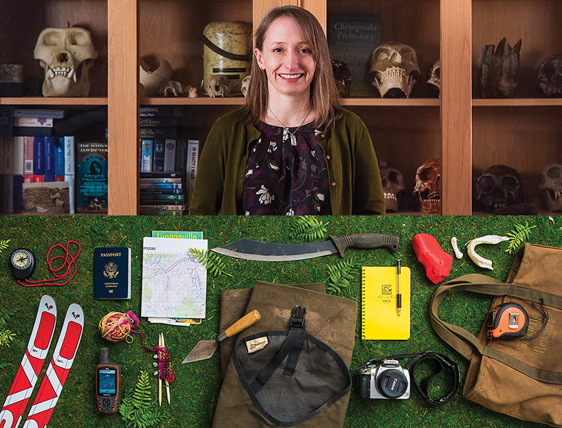 anthropologist Becca Peixotto and the contents of her bag