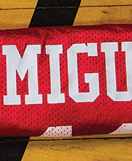 "football jersey with ""Miguel"" on the back"