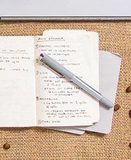 day planner and pen