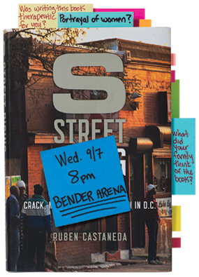 copy of S Street Rising with sticky notes on it