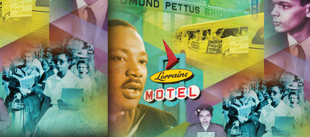 collage of Civil Rights sites and leaders