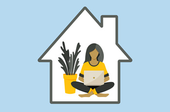Illustration of woman working on laptop inside home