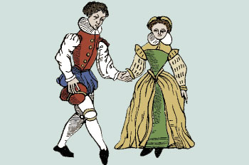 Illustration of a medieval era man and woman holding hands