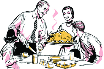 illustration of family enjoying Thanksgiving dinner