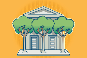 illustrated campus building with trees in front of the columns
