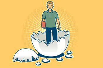 illustration of a student standing in an egg shell