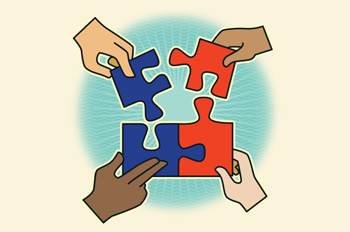 diverse hands piecing together a puzzle