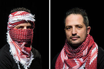 Side by side pictures of Deyaa Alrwishdi wearing a red keffiyeh over his face and on his shoulders