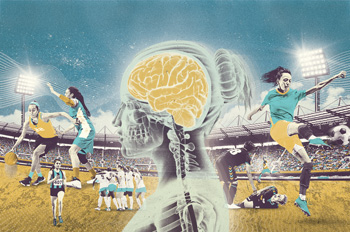 Collage of illustrated female athletes, centered by a women's soccer player's brain