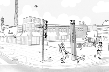 Illustration of the Tenleytown-AU Metro stop