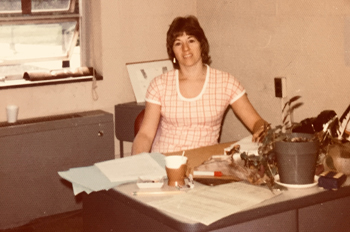 Roberta Rubenstein sits in her AU office in the early 1970s
