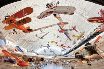 airplanes hanging from the ceiling of the Smithsonian