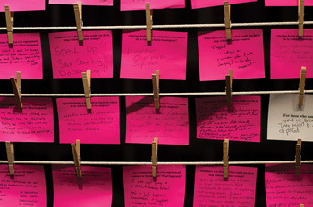 pink post-it notes from the exhibit