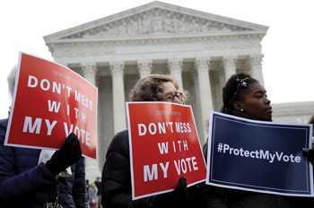 voting rights activists gather in front of the Supreme Courtg