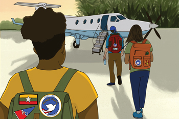 Au's Peace Corps volunteers walk to a plane to evacuate
