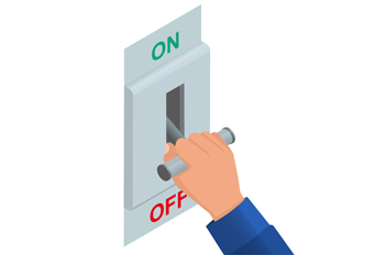 A hand pulls a lever on an on-off switch