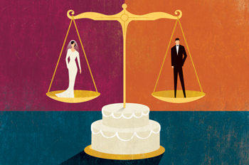 illustration of a scale over a wedding cake with a bride and groom on either side