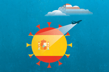 An illustration of a plane flashing a spotlight on the Spanish flag