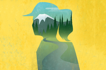 illustration of woman's profile with a mountain in the background