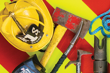 firefighter's helmet and tools